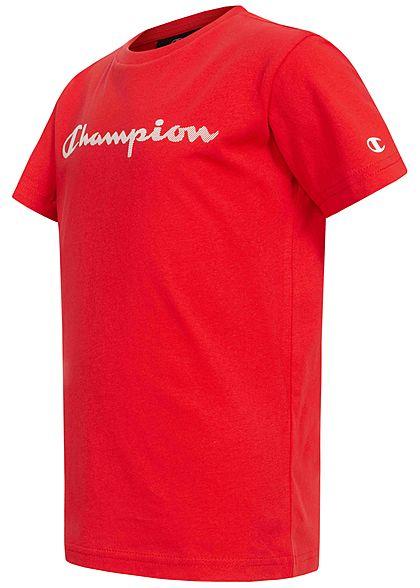 Champion Kids T-Shirt mit Logo Patch rot weiss