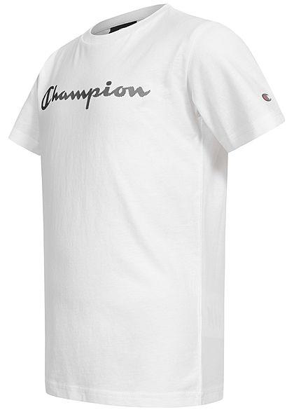 Champion Kids T-Shirt mit Logo Patch weiss schwarz