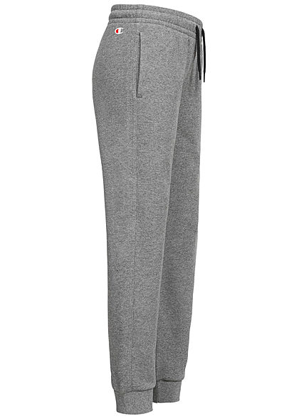 Champion Kids Sweatpants Jogginghose 2-Pockets Logo Patch seitlich grau schwarz