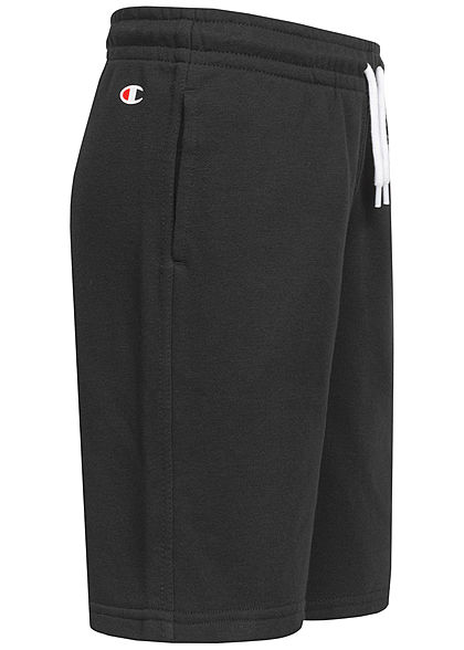 Champion Kids Bermuda Sweat Shorts 2-Pockets Logo Patch seitlich schwarz weiss
