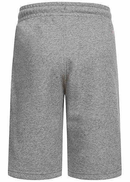 Champion Kids Bermuda Sweat Shorts 2-Pockets Logo Patch seitlich grau melange schwarz
