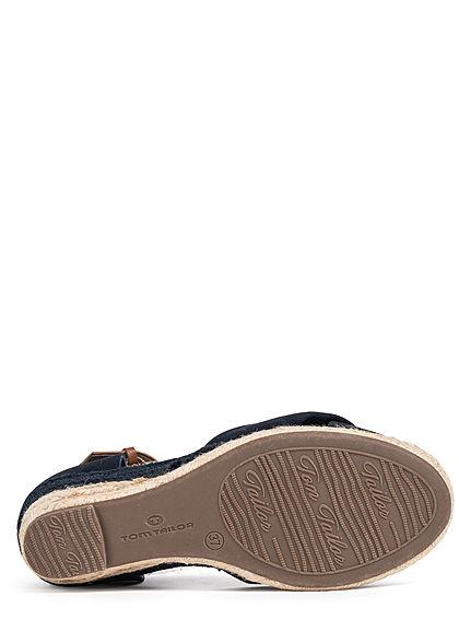 Tom Tailor Damen Schuh Sandalette Keilabsatz 6cm Drehdetail vorne navy blau