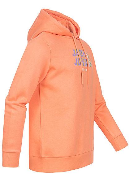 Jack and Jones Herren Sweat Hoodie mit Kapuze Logoprint shell coral orange