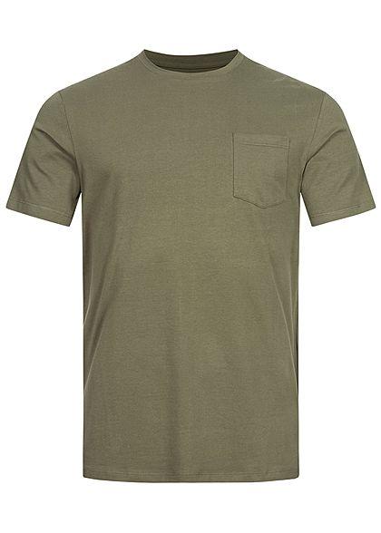 Jack and Jones Herren T-Shirt Brusttasche vorne Logo Print hinten dusty oliv grün