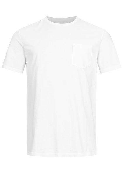 Jack and Jones Herren T-Shirt Brusttasche vorne Logo Print hinten weiss