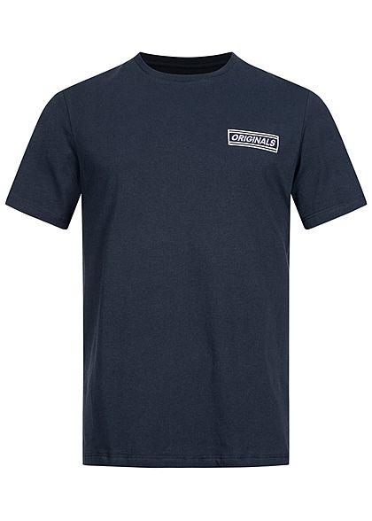 Jack and Jones Herren T-Shirt Logo Print vorne & hinten navy blazer blau
