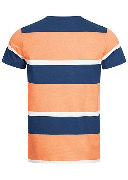 Jack and Jones Herren Colorblock T-Shirt Streifen Muster shell orange blau weiss