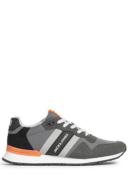Jack and Jones Herren Schuh 3-Tone Materialmix Sneaker zum schnüren asphalt grau orange
