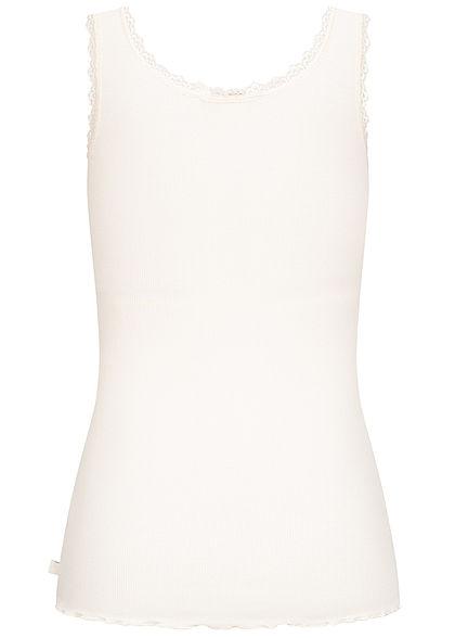 Tom Tailor Damen Ribbed Top mit Spitzendetails und Wellen am Saum gardenia weiss