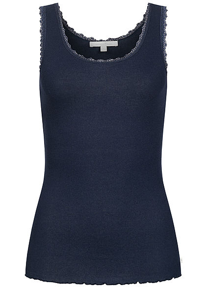 Tom Tailor Damen Ribbed Top mit Spitzendetails und Wellen am Saum sky captain blau