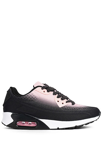 Seventyseven Lifestyle Damen Schuh 2-Tone Mesh Sneaker zum schnüren schwarz rosa