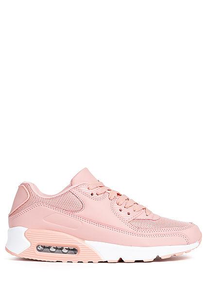 Seventyseven Lifestyle Damen Schuh Kunstleder Mesh Sneaker zum schnüren unicolor rosa