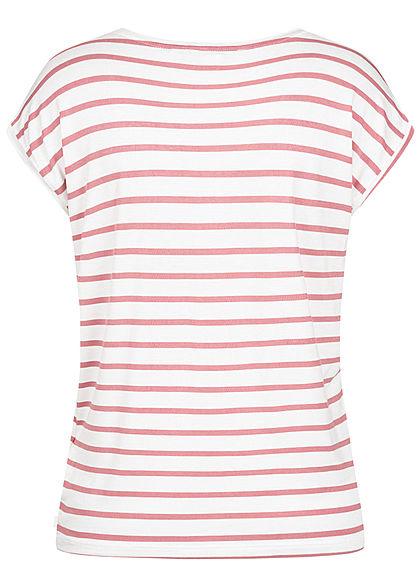 Tom Tailor Damen Casual T-Shirt Streifen Muster weiss rosa