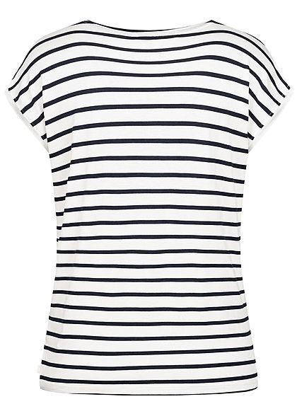Tom Tailor Damen Casual T-Shirt Streifen Muster navy blau weiss