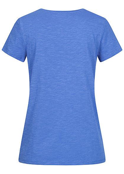 Tom Tailor Damen T-Shirt Streifen Muster mit Anker Stickkerei mid blau beige