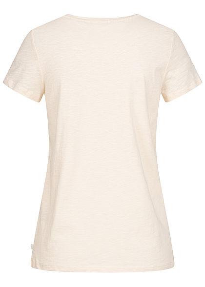 Tom Tailor Damen T-Shirt Streifen Muster mit Anker Stickkerei soft creme beige