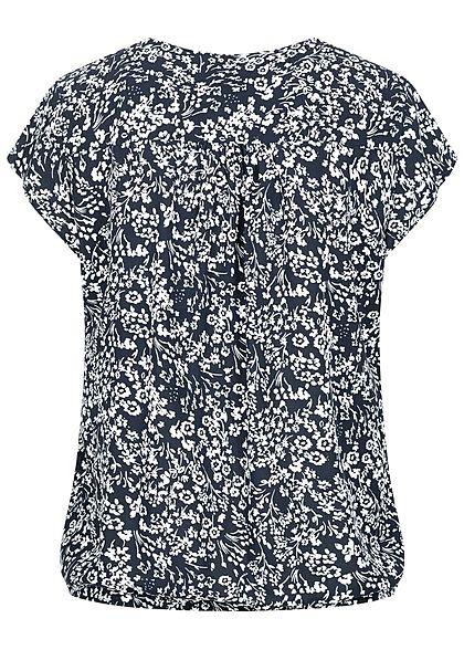Tom Tailor Damen V-Neck Kurzarm Puffer Bluse Blumen Muster navy blau weiss