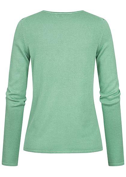 Tom Tailor Damen Basic V-Neck Pullover soft leaf grün