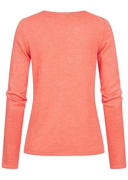 Tom Tailor Damen Basic V-Neck Pullover strong peach orange