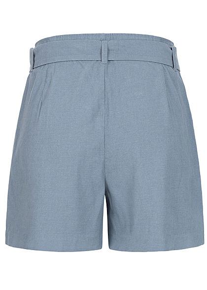 ONLY Damen High Waist Shorts inkl. Bindegürtel 2-Pockets Knopfleiste mirage blau