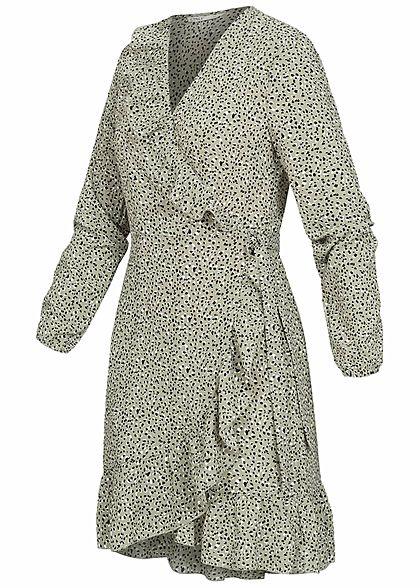 ONLY Damen NOOS V-Neck Mini Wickelkleid mit Frilldetails Punkte Muster seagrass grün