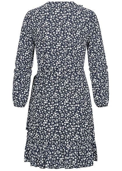 ONLY Damen NOOS V-Neck Mini Wickelkleid mit Frilldetails Blumen Muster night sky blau