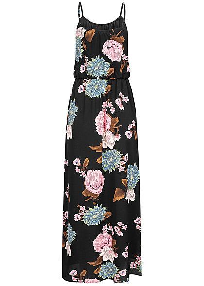 ONLY Damen NOOS Maxi Kleid Taillengummizug Blumen Print schwarz