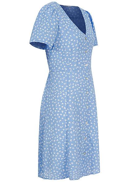 ONLY Damen NOOS V-Neck Mini Kleid Knopfleiste Bindedetail vorne allure blau weiss