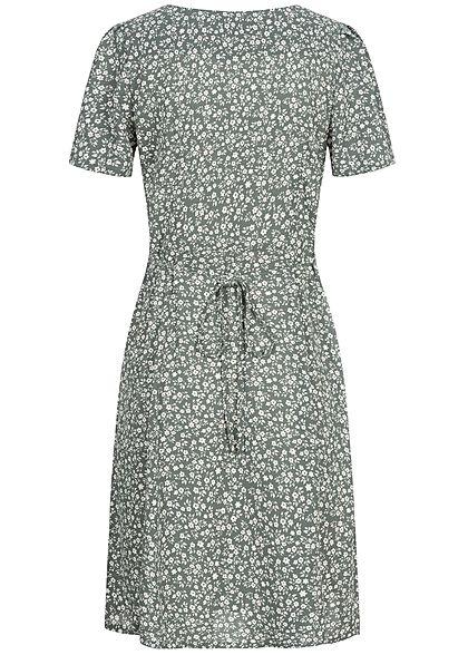 ONLY Damen NOOS V-Neck Mini Kleid Knopfleiste Bindedetail vorne balsam grün weiss