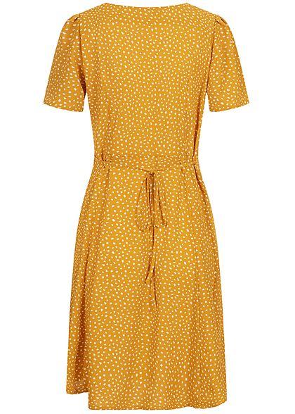 ONLY Damen NOOS V-Neck Mini Kleid Knopfleiste Bindedetail vorne chai tea gelb weiss