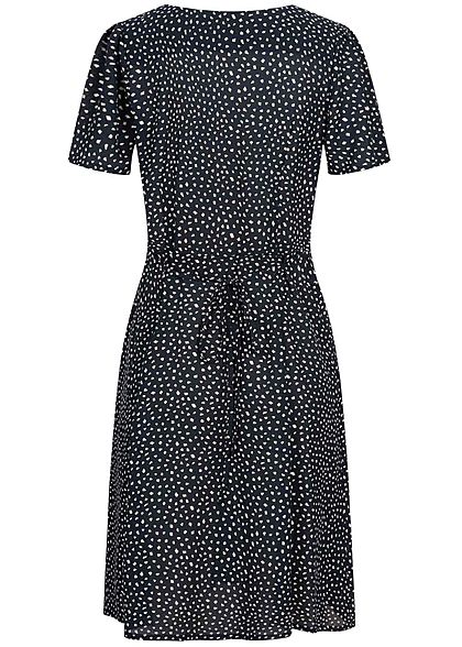 ONLY Damen NOOS V-Neck Mini Kleid Knopfleiste Bindedetail vorne night sky navy blau