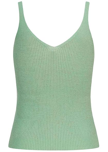 ONLY Damen NOOS V-Neck Ribbed Top kurzer Schnitt frosty grün