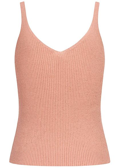 ONLY Damen NOOS V-Neck Ribbed Top kurzer Schnitt adobe rosa