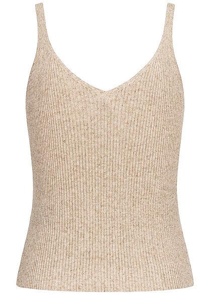 ONLY Damen NOOS V-Neck Ribbed Top kurzer Schnitt pumice stone beige