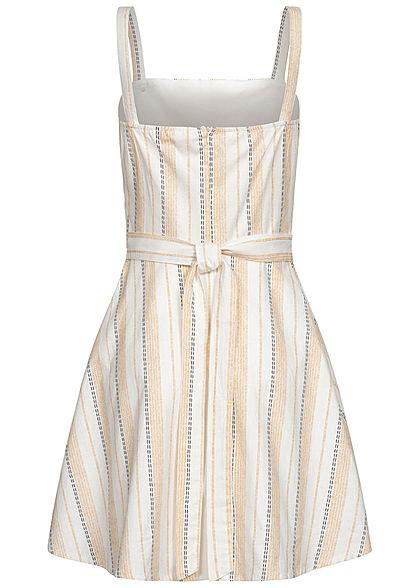 Hotel De Ville Damen Mini Kleid Streifen Muster Deko Knopfleiste 2-lagig off weiss