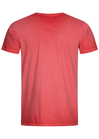Brave Soul Herren T-Shirt mit Rollsaumkante cool wash rot