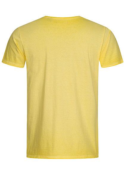Brave Soul Herren T-Shirt mit Rollsaumkante cool wash hell gelb