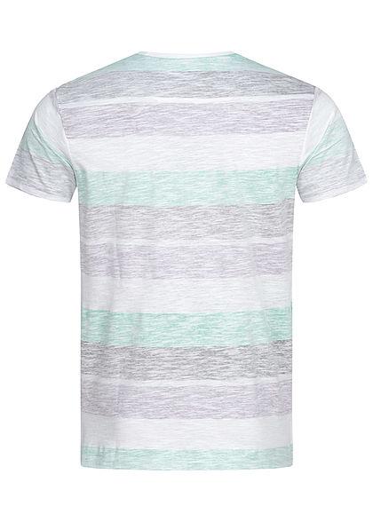 Brave Soul Herren Colorblock T-Shirt Inside Streifen Print weiss lila mint schwarz