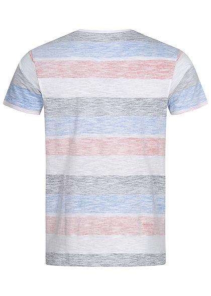 Brave Soul Herren Colorblock T-Shirt Inside Streifen Print weiss navy rot türkis