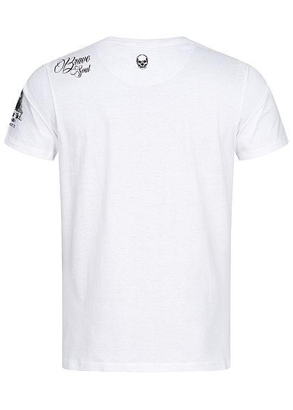 Brave Soul Herren T-Shirt Famous Figure Print optic weiss