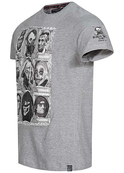 Brave Soul Herren T-Shirt Famous Figure Print hell grau melange