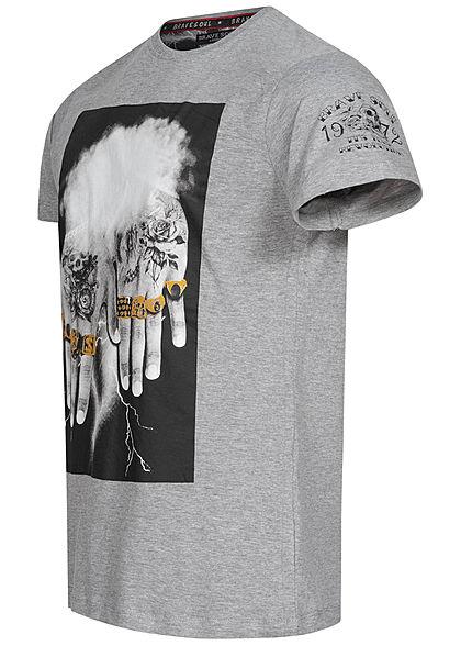 Brave Soul Herren T-Shirt 10 Finger Frontprint hell grau mel. schwarz gold