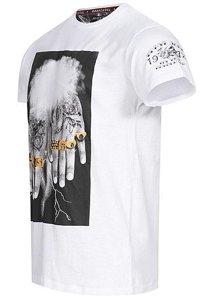 Brave Soul Herren T-Shirt 10 Finger Frontprint optic weiss schwarz gold