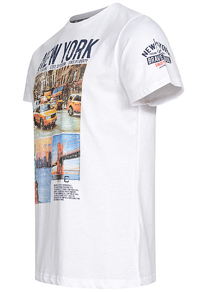 Brave Soul Herren T-Shirt New York City Print optic weiss multicolor