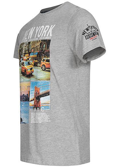 Brave Soul Herren T-Shirt New York City Print hell grau melange multicolor