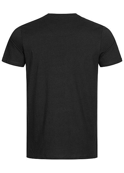 Brave Soul Herren 2-Tone T-Shirt Materilmix Datums Brustpatch jet schwarz