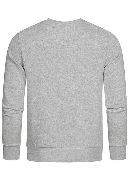 Brave Soul Herren Sweater Zipper Brusttasche marl hell grau