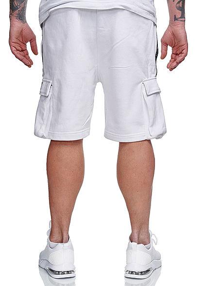 Brave Soul Herren Sweat Shorts Kontrast Streifen 6-Pockets optic weiss schwarz