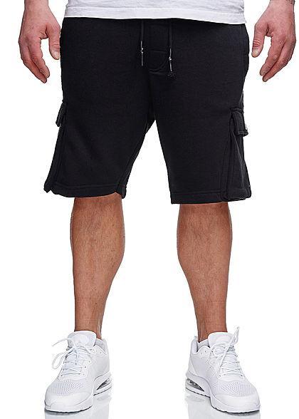 Brave Soul Herren Sweat Shorts Kontrast Streifen 6-Pockets jet schwarz