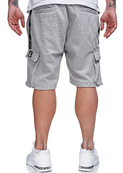 Brave Soul Herren Sweat Shorts Kontrast Streifen 6-Pockets hell grau melange